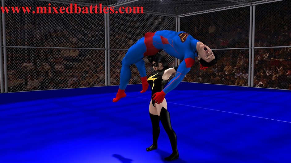 superhero beaten by young villain girl lift and carry femdom fighing