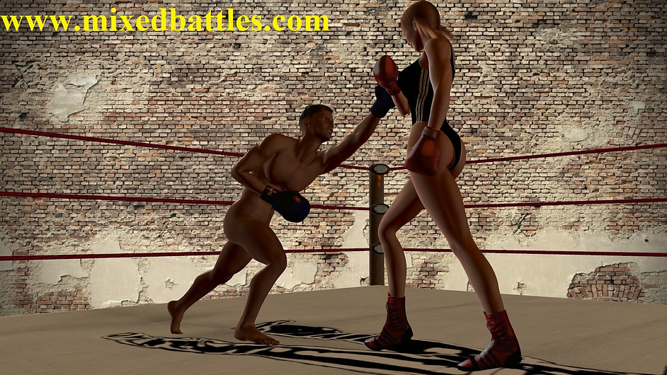 cfnm erotic mixed boxing leotard girlfriend vs naked boyfriend