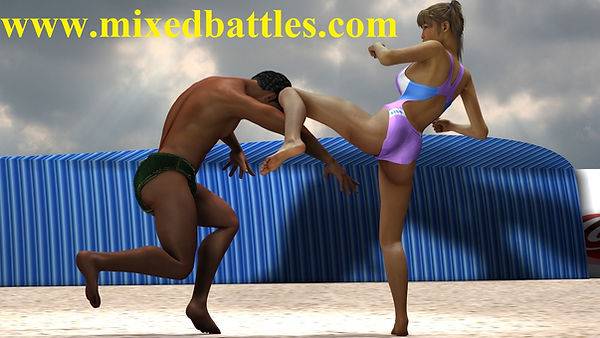 oriental beauty racing swimsuit beach erotic fight karate husband vs wife kung fu mixed martial arts