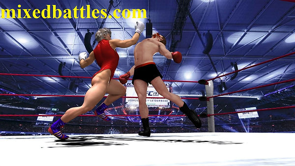 Mature woman vs young man mixed boxing female domination