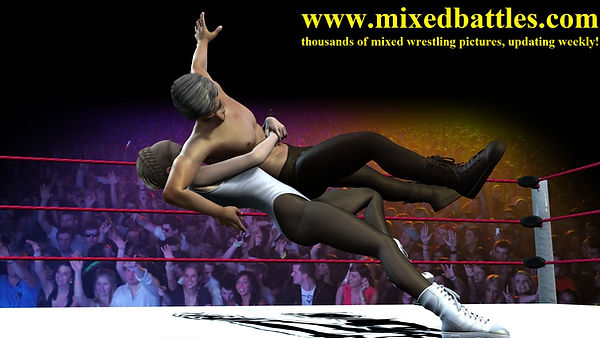 mixed wrestling holds bearhug falling down leotard woman beats man