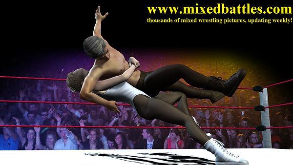 mixed wrestling holds bearhug falling down leotard woman beats man