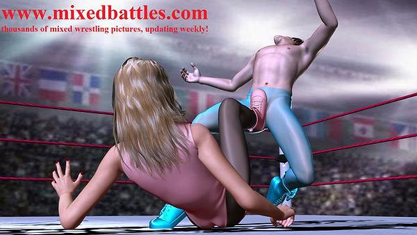 mixed wrestling self defence karate ballbusting leotard femdom fight