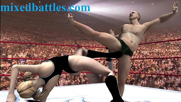 ballbusting mixed wrestling leotard femdom fighting