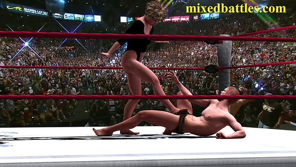 ballbusting mixed wrestling leotard female domination victory pose