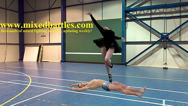 black leotard lace tutu ballerina trampling ballbusting fetish femdom fighting dance