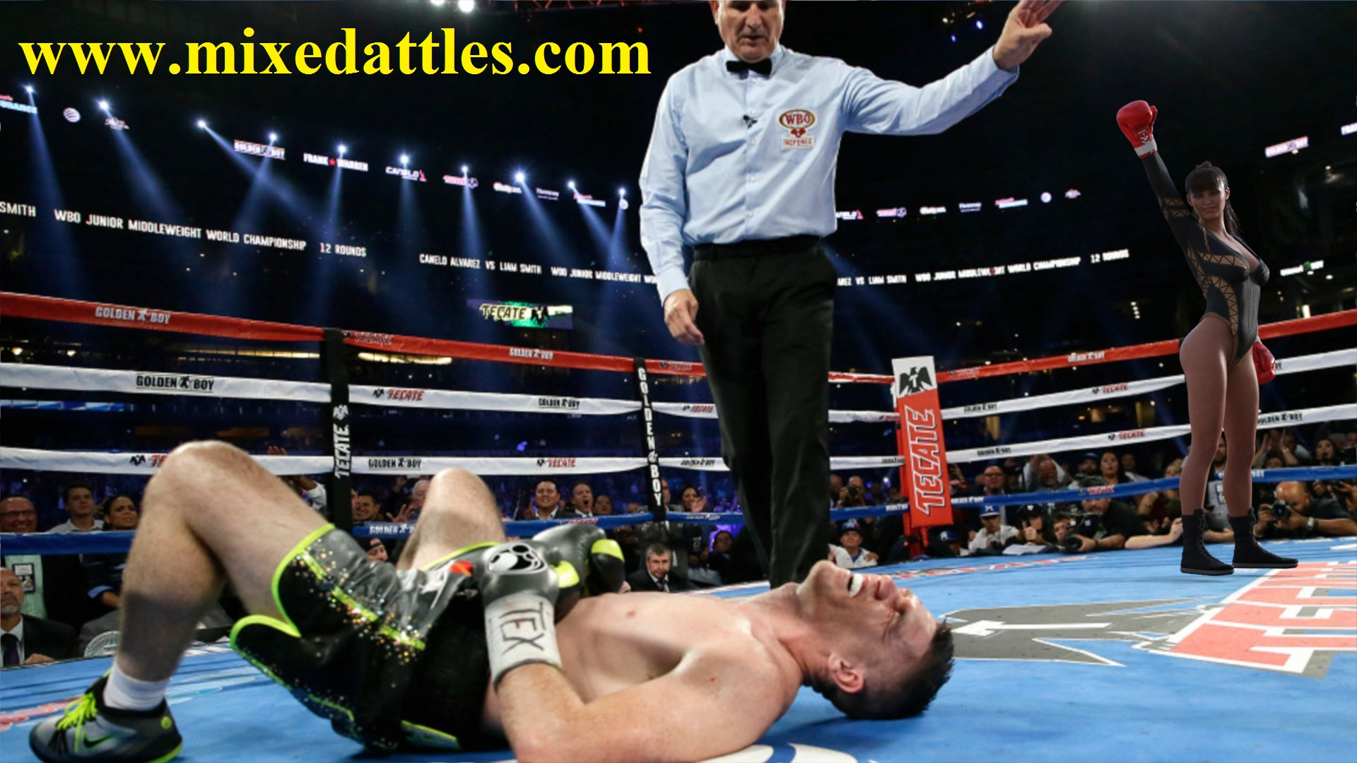 male boxer defeated by girl