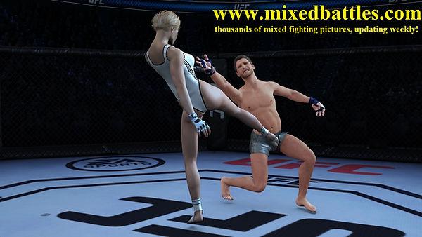 ufc cage woman vs man ballbusting karate leotard femdom fighting