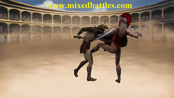 amazon vs gladiator sword fight ballbusting