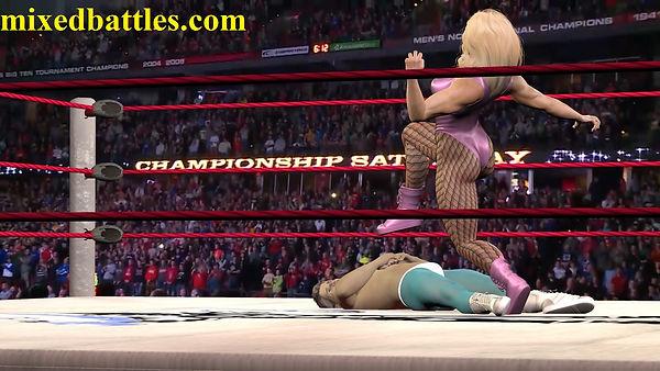 woman vs man wrestling match ball stomping femdom