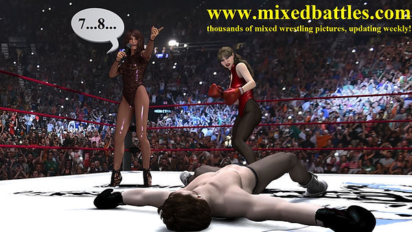 mixed boxing knockout leotard woman wins