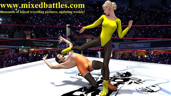 woman vs man fighting face kick leotard karate femdom