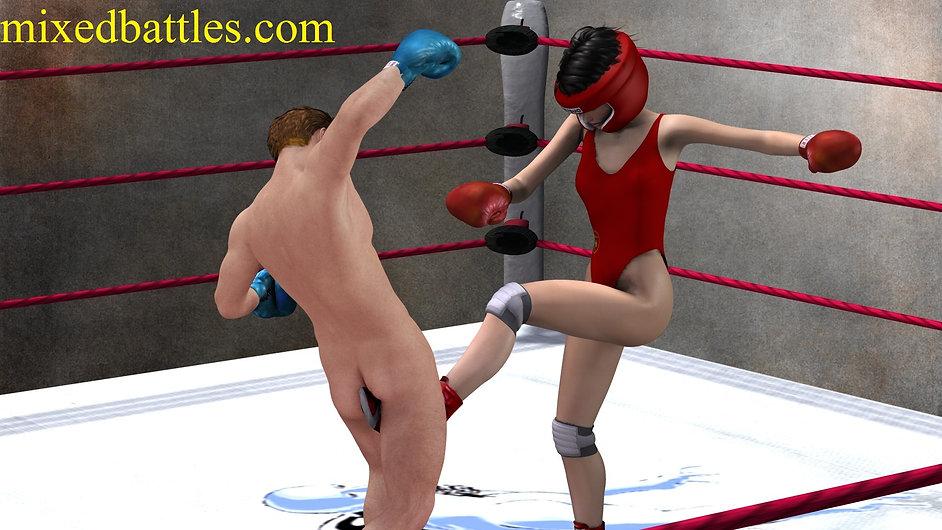 Chinese CFNM mixed kickboxing ballbusting