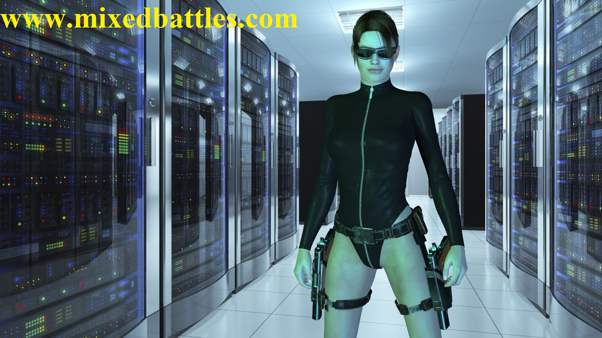 lara croft in computer room