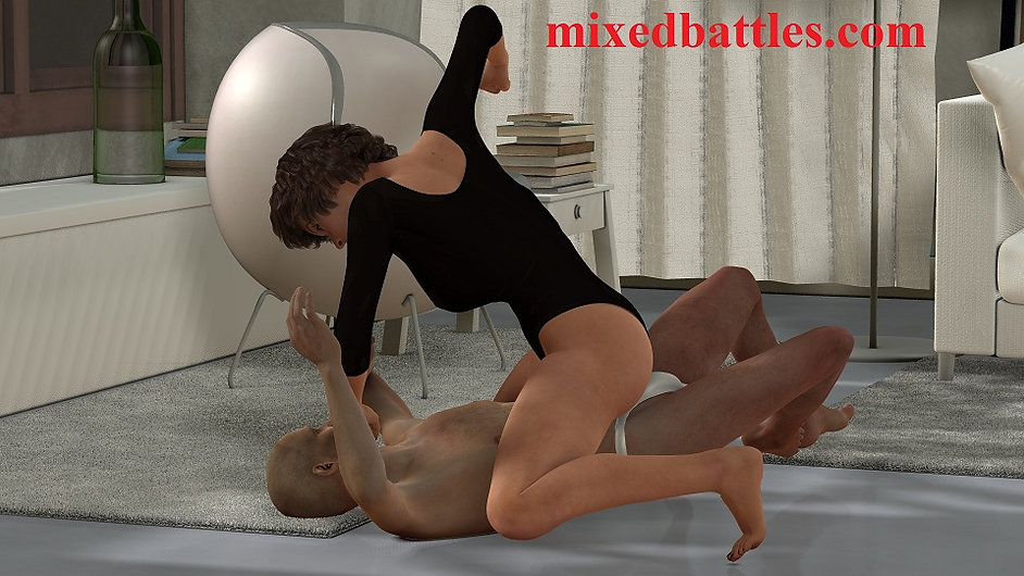 femdom leotard bedroom playfight foreplay girl on top