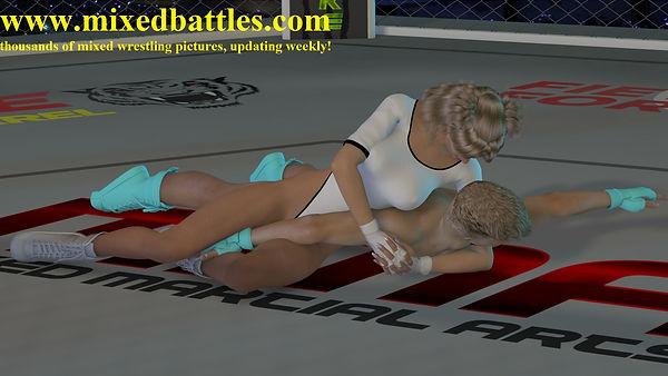CFNM leotard femdom UFC mixed wrestling woman wins