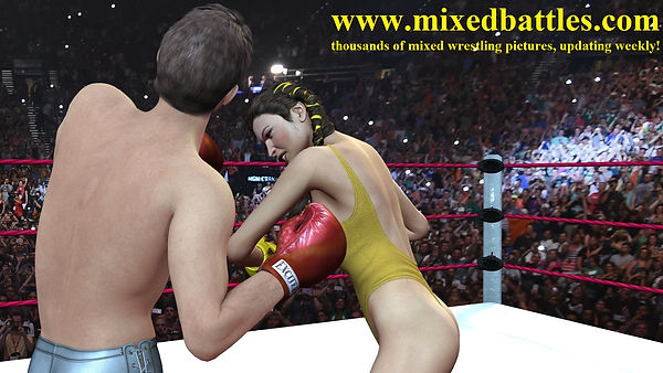 girl vs man boxing high cut leotard femdom fighting uppercut