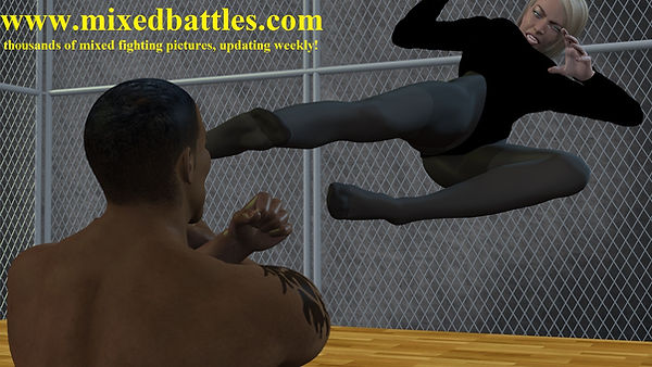 black leotard fighting femdom karate flying kick