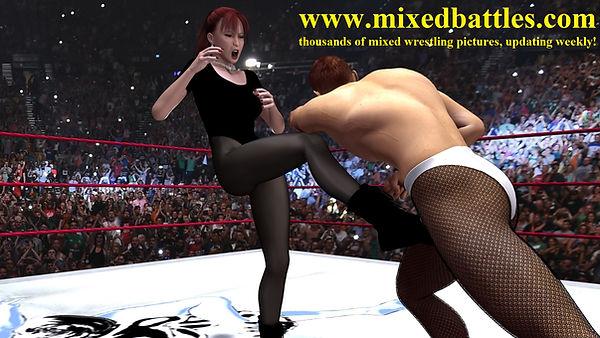 ballbusting mixed wrestling black leotard femdom fighting groin kick knockout