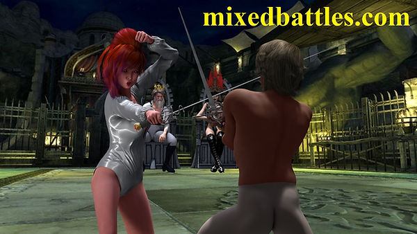 leotard swordswoman vs swordsman duel sword play
