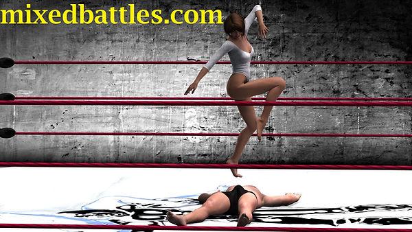 trampling mixed wrestling leotard wife beats husband