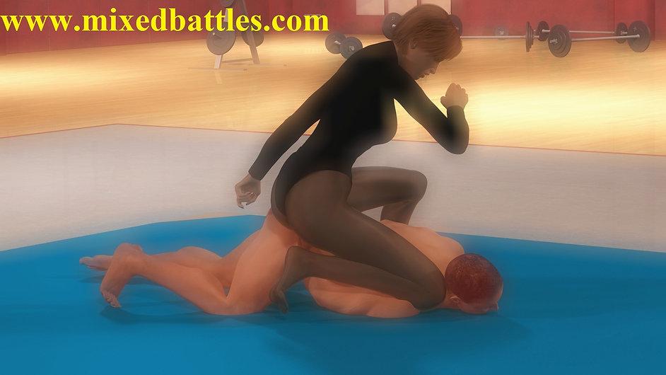 karate girl straddled nude man femdom fighting woman wins