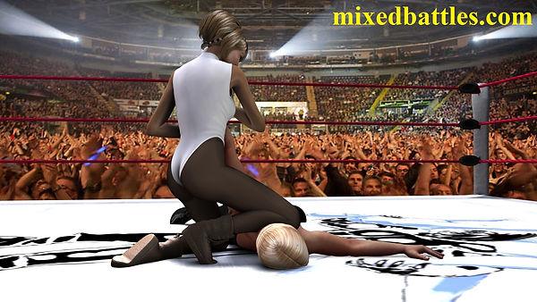 mixed wrestling girl on top arm twisting femdom