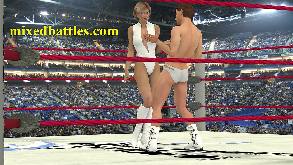 woman in leotard and high heels vs man in the wrestling ring