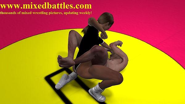 CFNM martial arts woman beats man