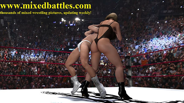 mixed wrestling femdom headlock lace bodysuit grappling girls