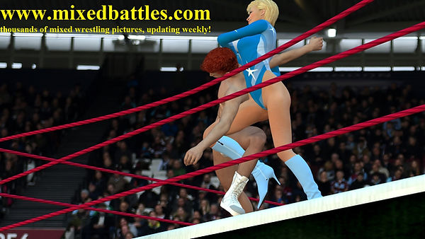 mature woman gymnast in high cut bodysuit beats young boy mixed wrestling