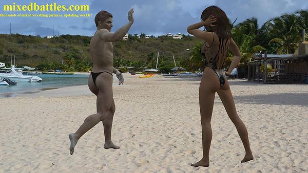 one piece swimsuit woman vs man beach fighting