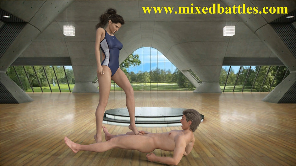 powerful mistress trains her naked male slave with hard barefoot ballbusting