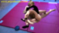 CFNM black leotard gymnast mixed wrestling femdom headscissors armlock