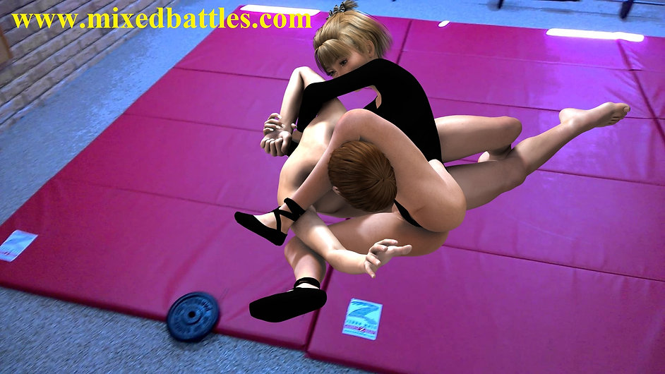 CFNM black leotard gymnast mixed wrestling femdom headscissors armlock