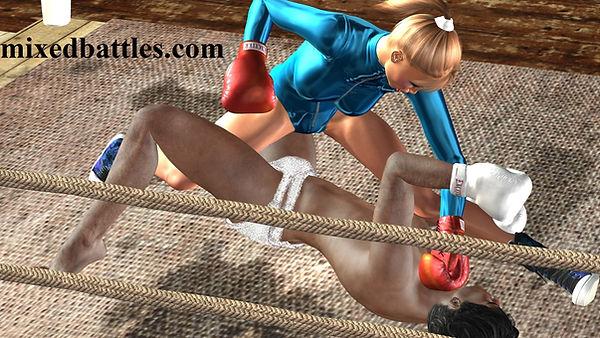 mixed boxing leotard femdom fight woman win