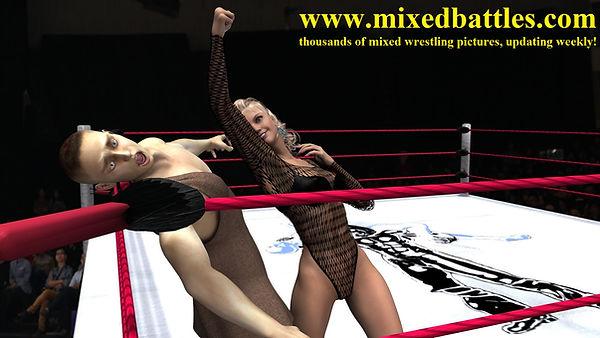 woman beats man uppercut keotard mixed boxing knockout