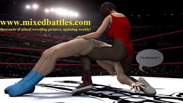 mixed wrestling leotard femdom backbreaker woman wins