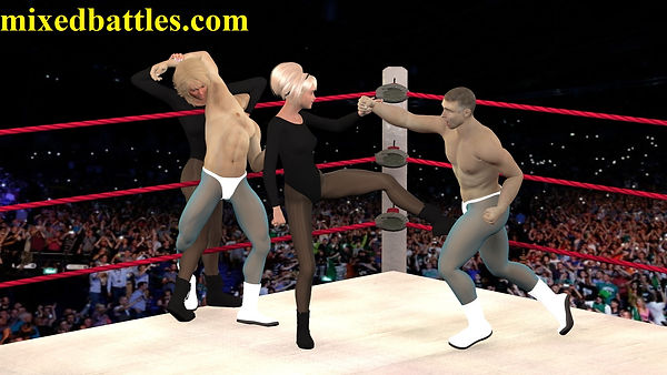 tag team mixed wrestling ballbusting femdom