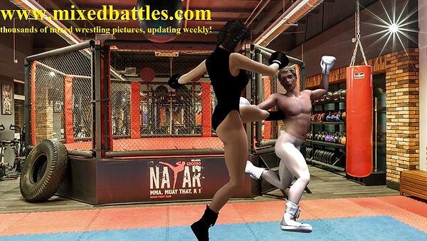 woman beats man leotard karate high kick fighting femdom
