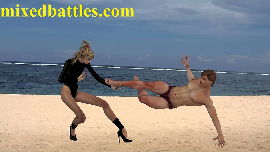 one piece swimsuit girl beats guy on the beach femdom mixed wrestling