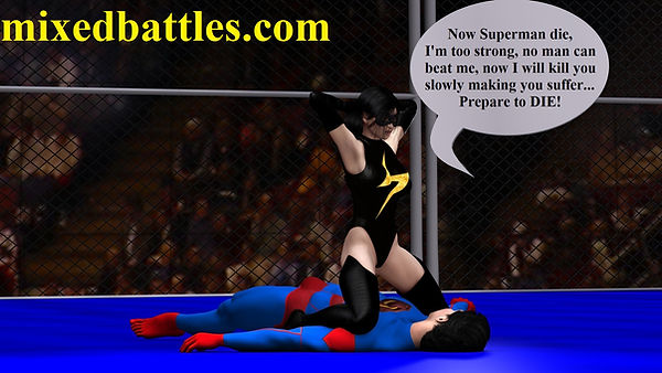 superheroes fantasy femdom mixed wrestling leotard ms.marvel beats superman