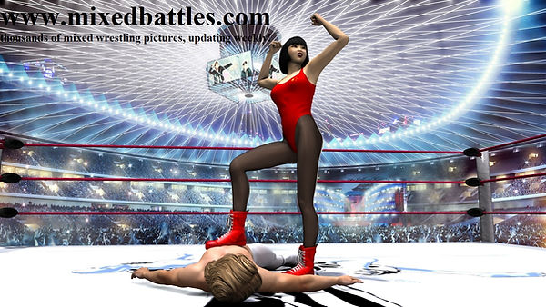japanese mixed wrestling leotard victory pose woman wins