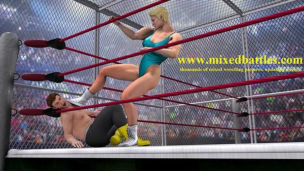 ultimate mma woman vs man cage fighting femdom leotard karate beating
