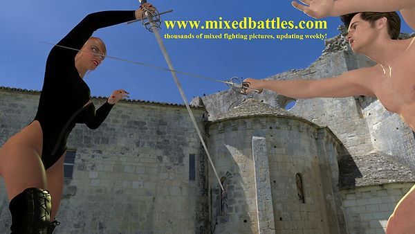 sword play woman vs man fencing duel rapier long sword medieval femdom fight bodysuit high heels leather cfnm naked epee