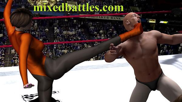 mixed wrestling tag team female domination leotard erotic fighting