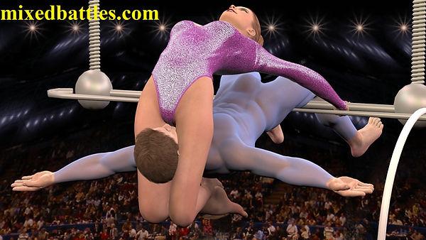 circus acrobats mixed wrestling facesittng headscissors