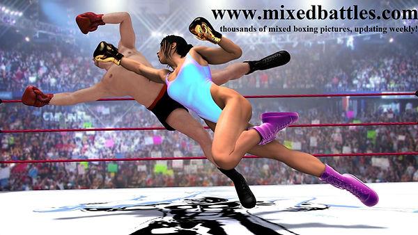 mixed boxing leotard femdom fight flying uppercut