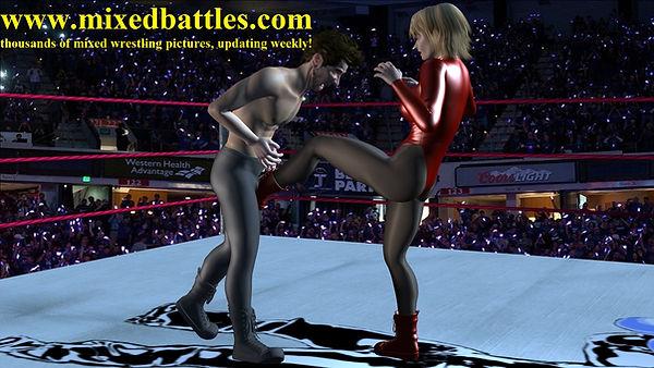 woman kicking man in the balls