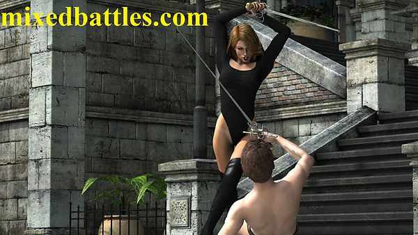 cfnm sword play duel woman vs man erotic fighting leotard female domination